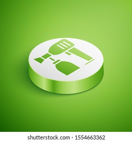 Isometric Paint spray gun icon isolated on green background. White circle button. Vector Illustration