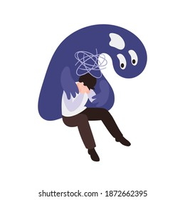Isometric panic attack concept with depressed person on white background 3d vector illustration