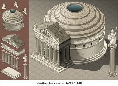 Isometric Pantheon Building Ancient Rome Tiles for Online Strategic Game Insight and Development. Isometric Flat 3D Roman Imperial Buildings Set. Game Phenomena Rome Caesar Age. Vector Temple Empire.