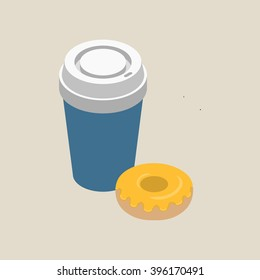 Isometric paper cup of coffee with white cap and glazed donut isolated on beige background, vector illustration.