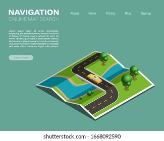 Isometric paper map navigation, taxi point markers background, vector isometry nature schema, 3D simple route plan GPS navigation, final taxi destination arrow map. Route delivery check point graphic