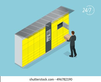 Isometric Parcel Delivery Lockers. Self-service. Express Delivery courier service. Mobile Shoping e-commerce. This service provides an alternative to home delivery for online purchases.