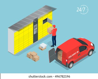 Isometric Parcel Delivery Lockers. Self-service.  This service provides an alternative to home delivery for online purchases.