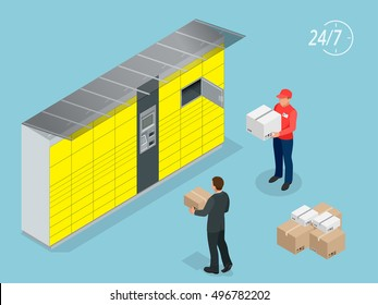Isometric Parcel Delivery Lockers. Self-service. Mobile Shoping e-commerce. This service provides an alternative to home delivery for online purchases.