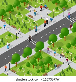 Isometric park with trees and people with benches