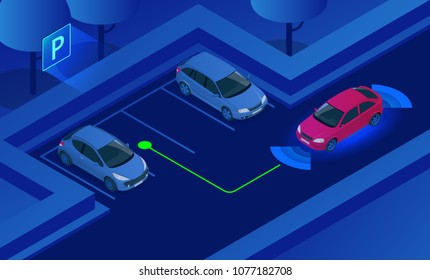 Isometric Parking Assist System vector illustration. Car technology with sensors . Sensors scanning free space to park. Generic park pilot parktronic electronic aid system sensors with maneuver.