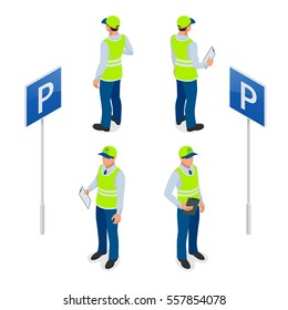 Isometric Parking Attendant. Traffic warden, getting parking ticket or parking ticket fine mandate. Flat 3d vector illustration