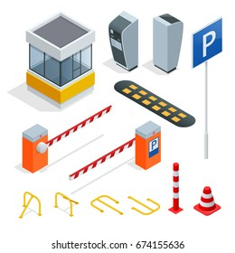 Isometric Parking isometric elements set . Icons for parking cars. Fines and elements of parking. Parking zone icon in set collection