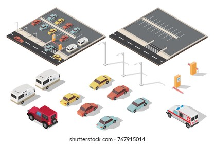 Isometric parking space cars vector illustration city background set