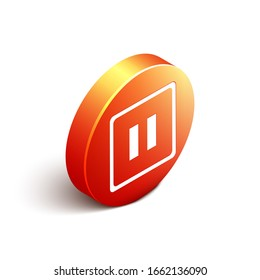 Isometric Pause button icon isolated on white background. Orange circle button. Vector Illustration