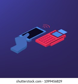 isometric payment by credit card with pos terminal, EDC technology business concept. Top view
