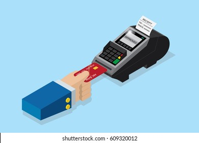 isometric payment by credit card with pos terminal, EDC technology business concept