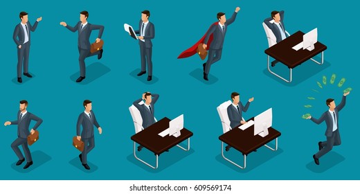 Isometric people, 3d entrepreneurs, different concept scenes, emotions and gestures businessman, superman, management and production isolated bright blue background.