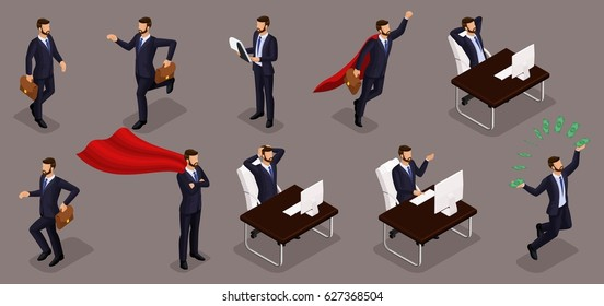 Isometric people, 3d entrepreneurs, different scenes concepts working office, emotions businessman, superman, solution tasks, management isolated dark.
