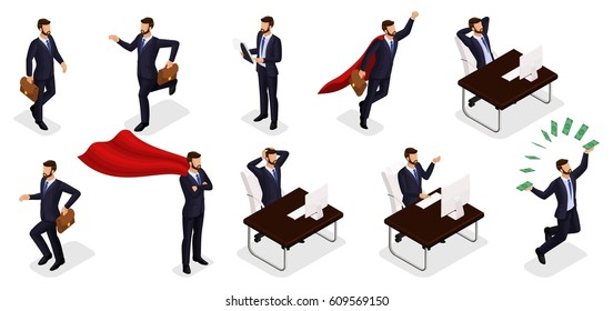 Isometric people, 3d Young entrepreneurs, different scenes of concepts working in the office, emotions and gestures of a businessman, superman, solution of tasks, management isolated white background.
