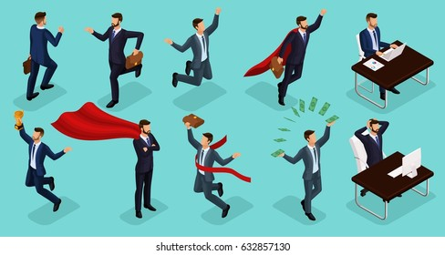 Isometric people, 3d Young entrepreneurs, different scenes concepts working in the office, superman, money, cup, joy of victory isolated on blue background.