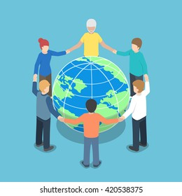 Isometric people around the world holding hands, teamwork, global business, unity concept, VECTOR, EPS10