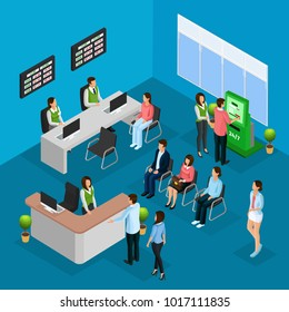 Isometric people in bank office concept with workers clients and different financial services vector illustration