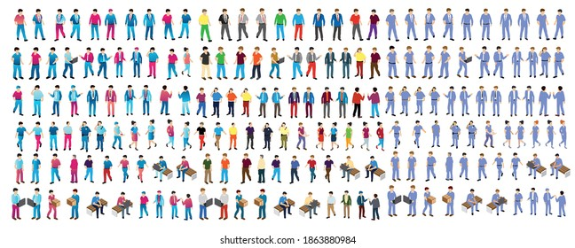 Isometric people boss, professional, manager, worker student teenager urban business environment, businessman, set of objects - Shutterstock ID 1863880984