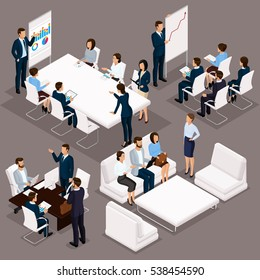 Isometric people, businessmen 3D business woman. Discussion, negotiation concept work, brainstorming. Working in the office, office workers on a dark background.