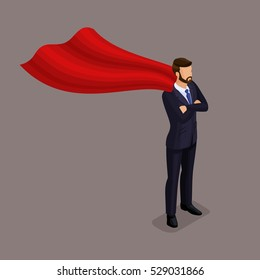 Isometric People Isometric businessmen, businessman striving forward movement, Superman, fly, up, leading to a dark background, isolated.