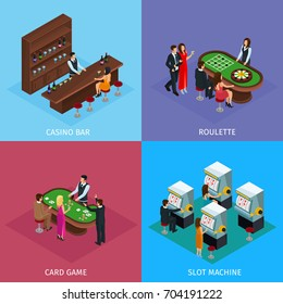 Isometric People In Casino Square Concept