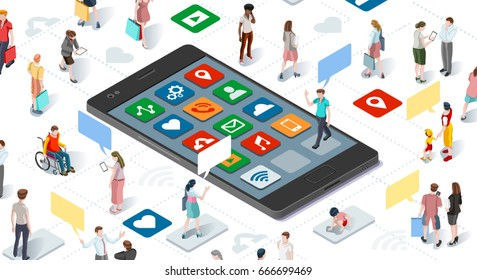 Isometric people and connecting devices smartphone social media graphic vector template illustration. Children graphic.