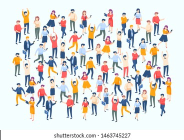 Isometric people crowd. Large people group, different male and female characters, business audience concept. Vector population poster with character professional business team