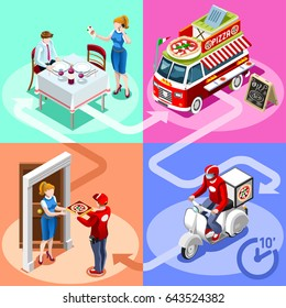 Isometric people delivery man vector restaurant supermarket pizza food truck van for fast home delivery vector infographic. 3D flat man processing online order client customer door illustration.