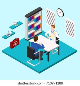 Isometric people doctor composition with human characters and consulting room interior with medical equipment and furniture vector illustration