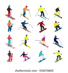 Isometric people doing skiing and snowboarding isometric set isolated vector illustration