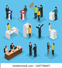 Isometric people election set with political debates campaign voting process ballot booth candidates interview isolated vector illustration