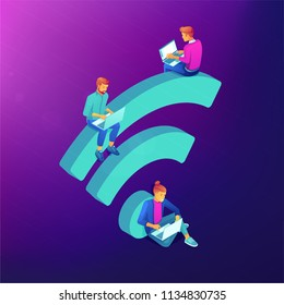 Isometric people in free internet zone working on laptops sitting on a big wifi sign. Free wifi hotspot, public assess zone, portable device concept on ultraviolet background. Vector 3d illustration.
