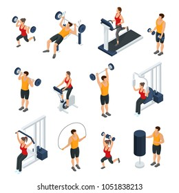 Isometric people in gym collection with men and women doing different physical exercises isolated vector illustration
