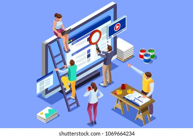 Isometric people images to create seo illustrations. Can be used for web banner, infographics, hero images. Flat isometric vector illustration isolated on blue background.