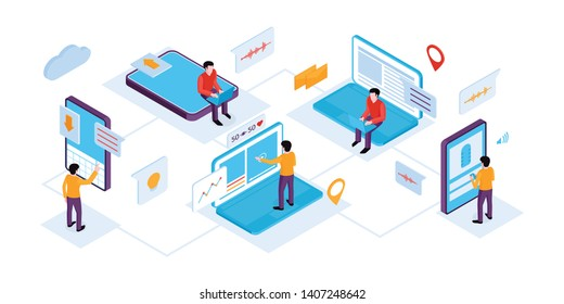 Isometric people interfaces horizontal composition with set of human characters with screens gadgets and pictogram icons vector illustration