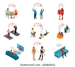 Isometric people. LGBT Gay dating and  Lesbian Couple Moments. Happiness Concept.  Communicate online, watch TV together, relax in a cafe, sadomasochism and expectation of a friend of the situation.