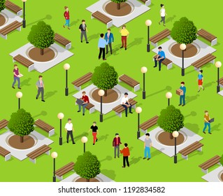 Isometric people lifestyle communication in an urban environment in a park with benches and trees