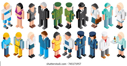Isometric People. Low Polygon Style. Various Male and Female Jobs and Occupations