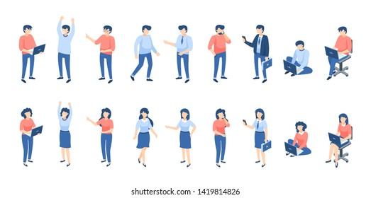 Isometric people. Male and female persons, different businessmen students and children isolated on white. Vector illustration formal job community characters