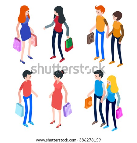 dc6f900d9 Isometric People Men Women Shopping Bags Stock Vector (Royalty Free ...