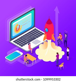 Isometric people. Officepresent a new startup project business plan, development of investment search. Successful launch of startup