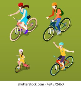 Isometric People on Bicycles. Family Cyclists. Healthy Lifestyle. Vector flat 3d illustration