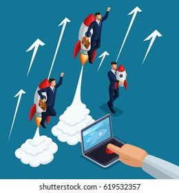Isometric people person, 3d startup start, hand presses start button laptop, take off young businessmen, rocket, development and business launch up, business concept.