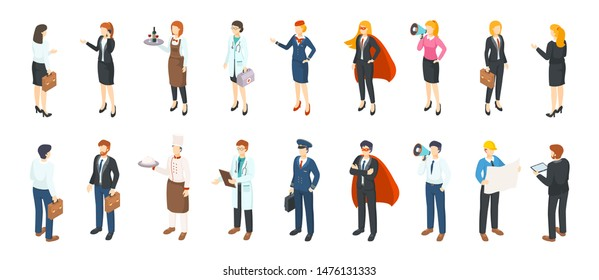 Isometric people professions. Men and women in different professional suits and uniforms, flat office characters. Vector 3D business jobs person profession service
