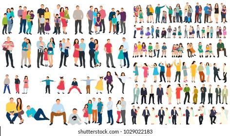 isometric people set of men, family girls, flat style