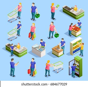 Isometric people shopping set of isolated human characters with trolley carts cabinet shelves and checkout stand vector illustration