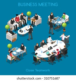 Isometric People Startup project man meet worker Business group team people. Social meeting room office. 3D Flat isometric character infographic interview concept work table Icon Vector Collection Set