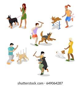 Isometric People Training Dog. Vector flat 3d illustration