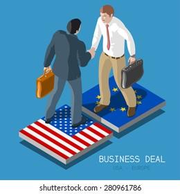 Isometric People USA Europe Transatlantic Trade Partnership TTIP Handshake. Flat 3d Isometric TTIP Concept Two Businessmen Shaking Hands Flag Tiles Transatlantic Infographic People Vector Icon